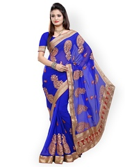 Saree Swarg Blue Embroidered Faux Chiffon Partywear Saree