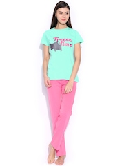 July Nightwear Green & Pink Lounge Set PS0009