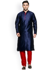 Amora Navy & Red Kurta Pyjama Set