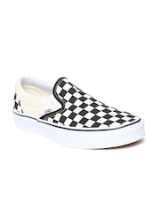 Vans Unisex Off-White & Black Checked Casual Shoes