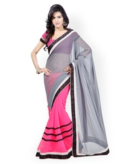 Kalista Grey & Pink Chiffon Fashion Saree