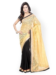 Kalista Beige & Black Brasso & Net Fashion Saree