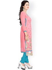 Blissta Pink & Turquoise Blue Faux Georgette Unstitched Dress Material