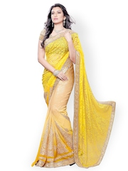 Colors Yellow Embroidered Brasso Fashion Saree