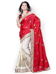 Colors Red & White Embroidered Jacquard Fashion Saree