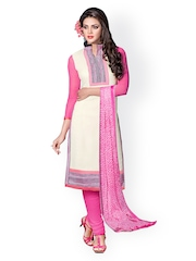 Prafful White & Pink Embroidered Chanderi Cotton Unstitched Dress Material