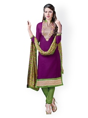 Prafful Purple & Green Embroidered Chanderi Cotton Unstitched Dress Material