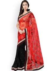 Bhelpuri Red & Black Georgette Partywear Saree