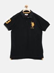 U.S. Polo Assn. Kids Boys Black Polo T-shirt