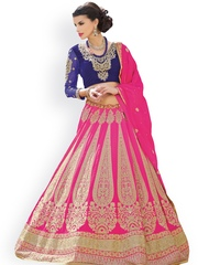 7 Colors Lifestyle Pink & Navy Embroidered Semi-Stitched Lehenga Choli