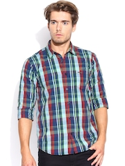 Noble Faith Green & Blue Checked Casual Shirt