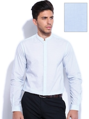 Wills Clublife by Wills Lifestyle Blue Striped Slim Fit Semiformal Shirt
