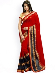 Janasya Red Embroidered Chiffon Embellished Saree