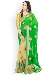Janasya Green & Beige Embroidered Chiffon Embellished Saree