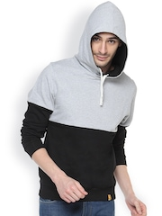 Campus Sutra Black & Grey Hooded Sweatshirt