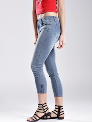 GUESS Blue Marilyn Zip Cropped Slim Fit Jeans