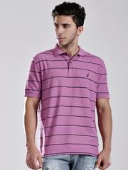 Nautica Purple Striped Polo T-shirt