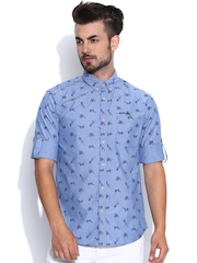 Ed Hardy Blue Printed Casual Shirt