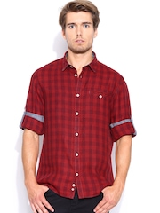 Celio Red & Maroon Checked Linen Casual Shirt