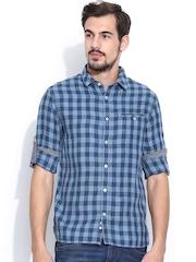 Celio Blue Checked Linen Casual Shirt