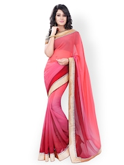 Florence Pink & Maroon Ombre-Dyed Chiffon Saree