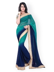 Florence Green & Blue Ombre-Dyed Chiffon Saree