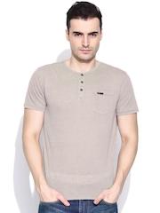 CAT Beige Henley T-shirt