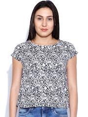 Sepia White & Black Printed Top