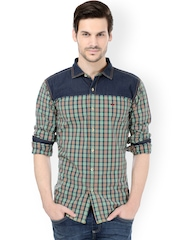 Basics Green & White Checked Slim Fit Casual Shirt
