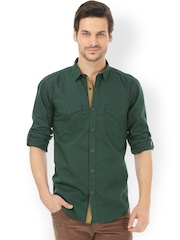 Basics Green Casual Shirt