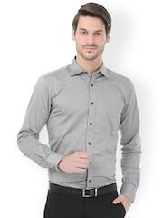 Basics Grey Pinstriped Slim Fit Formal Shirt