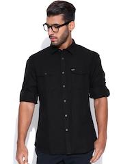 Indian Terrain Black Linen Slim Casual Shirt