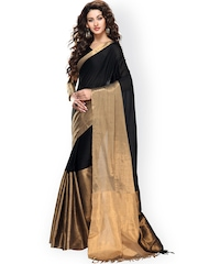 Ishin Black & Gold-Toned Cotton Traditional Saree