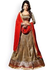 7 Colors Lifestyle Golden and Red Supernet Semi-Stitched Lehenga Choli