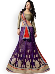 7 Colors Lifestyle Purple & Golden Supernet Semi-Stitched Lehenga Choli