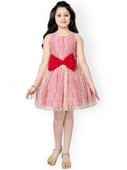 K&U Girls Gold-Toned & Pink Lace Fit & Flare Dress