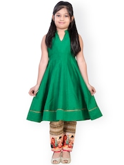 K&U Green & Beige Silk Anarkali Salwar Suit
