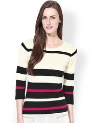 Manola Cream-Coloured & Black Striped Top