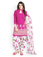 Khushali Pink & White Printed Cotton Unstitched Dress Material