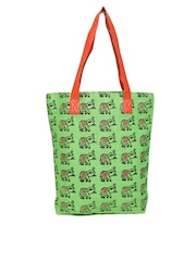 Earthen Me Green Printed Jute Tote Bag