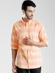 Tommy Hilfiger Orange & Peach-Coloured Striped New York Fit Casual Shirt