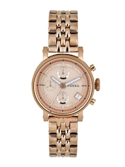 Fossil Women Rose Gold-Toned Dial Chronograph Watch ES3380I