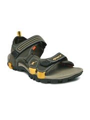 Sparx Men Olive Green & Yellow Sports Sandals
