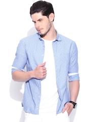 Celio Blue Dot Print Slim Casual Shirt