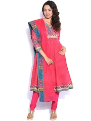 Biba Pink Printed Anarkali Churidar Kurta with Dupatta