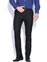 Arrow Black Self-Checked Formal Trousers
