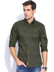 Being Human Clothing Olive Green Slim Casual Shirt