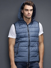 Antony Morato Gold Blue Reversible Sleeveless Jacket