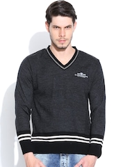 Duke Charcoal Grey Sweater with Striped Detail