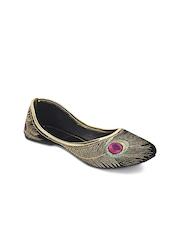 Paduki Women Black & Gold-Toned Embroidered Mojaris